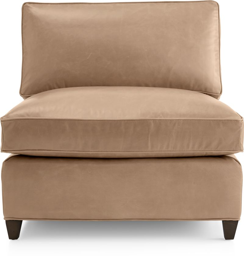 Dryden leather armless chair in dryden leather sectional for Crate and barrel armless chair