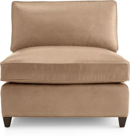 Dryden Leather Armless Chair shown in Libby, Mushroom