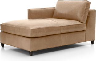 Dryden Leather Left Arm Chaise Lounge shown in Libby, Mushroom