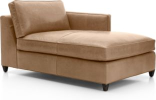 Dryden Leather Right Arm Chaise Lounge shown in Libby, Mushroom