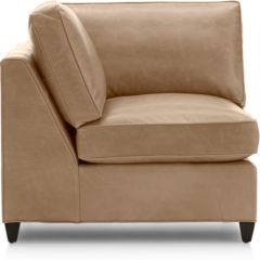 Dryden Leather Corner Chair shown in Libby, Mushroom