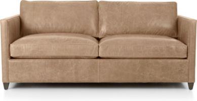 Dryden Leather Full Sleeper Sofa shown in Libby, Mushroom