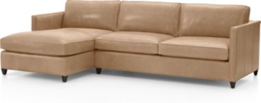 Dryden Leather 2-Piece Left Arm Chaise Sectional(Left Arm Chaise, Right Arm Apartment Sofa) shown in Libby, Mushroom