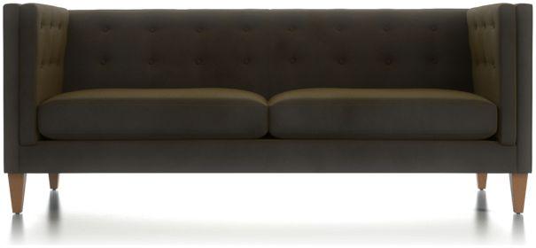 Aidan Tall Velvet Tufted Sofa shown in Como, Olive