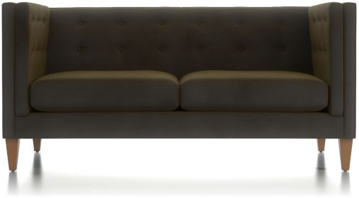 Aidan Tall Velvet Tufted Apartment Sofa shown in Como, Olive
