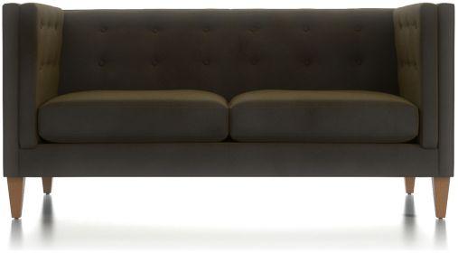 Aidan Tall Velvet Tufted Apartment Sofa shown in Como, Olive