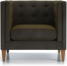 Aidan Tall Velvet Tufted Chair and a Half shown in Como, Olive