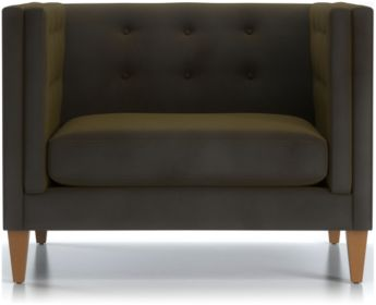 "Aidan Tall Velvet 38"" Tufted Chair shown in Como, Olive"