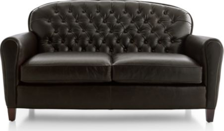 Eiffel Tufted Leather Loveseat shown in Tampa, Cigar