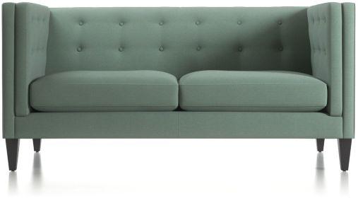 Aidan Tall Tufted Apartment Sofa shown in Cole, Bay