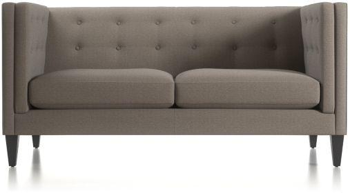 Aidan Tall Tufted Apartment Sofa shown in Cole, Nickel