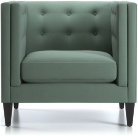 Aidan Tall Tufted Chair and a Half shown in Cole, Bay