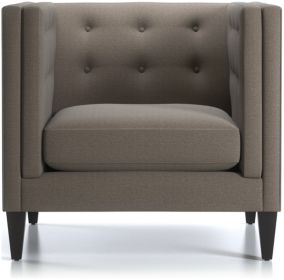 Aidan Tall Tufted Chair and a Half shown in Cole, Nickel