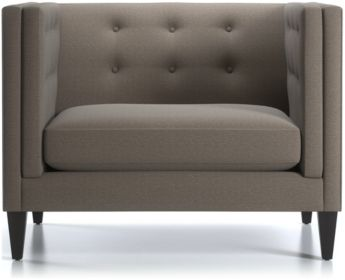"Aidan Tall 38"" Tufted Chair shown in Cole, Nickel"