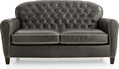 Eiffel Tufted Leather Loveseat shown in Citation, Dark Grey