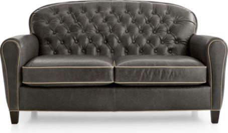 Eiffel Tufted Leather Loveseat shown in Citation, Dark Grey