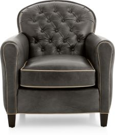 Eiffel Tufted Leather Chair shown in Citation, Dark Grey