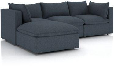 Lotus Petite 4-Piece Reversible Sectional with Ottoman shown in Nordic, Sea