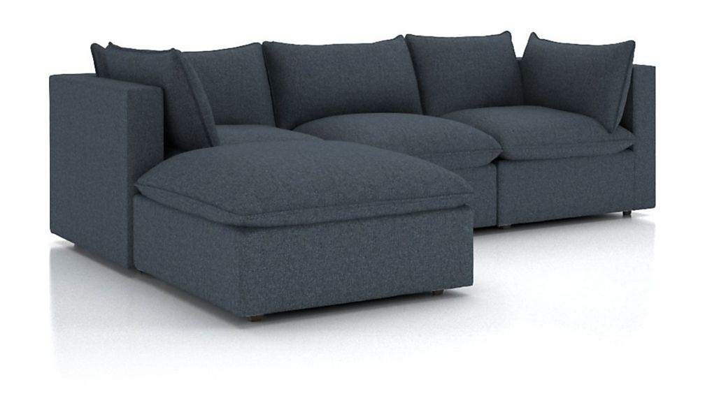 Lotus Petite 4-Piece Reversible Sectional with Ottoman - Image 2 of 4