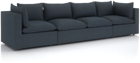 Lotus Petite Modular 3-Piece Extra Long Low Sofa Sectional shown in Nordic, Sea