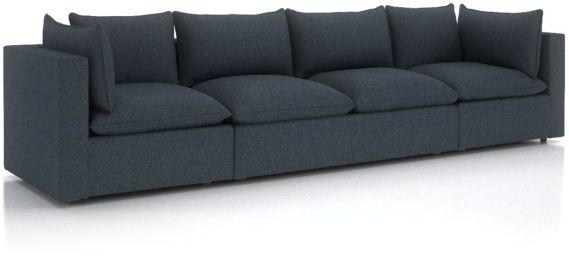 Lotus Petite Modular 3-Piece Extra Long Low Sofa Sectional shown in Nordic, Sea