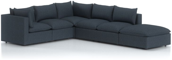 Lotus Petite Modular 5-Piece Low Sectional shown in Nordic, Sea