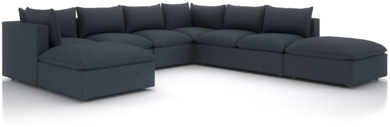Lotus Petite Modular 7-Piece Low Sectional shown in Nordic, Sea