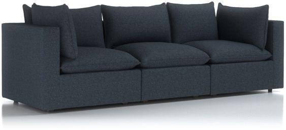 Lotus Petite Modular 3-Piece Low Sofa Sectional shown in Nordic, Sea