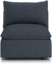 Lotus Petite Modular Armless Low Chair shown in Nordic, Sea