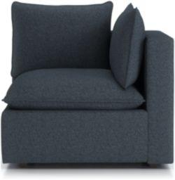 Lotus Petite Modular Corner Low Chair shown in Nordic, Sea