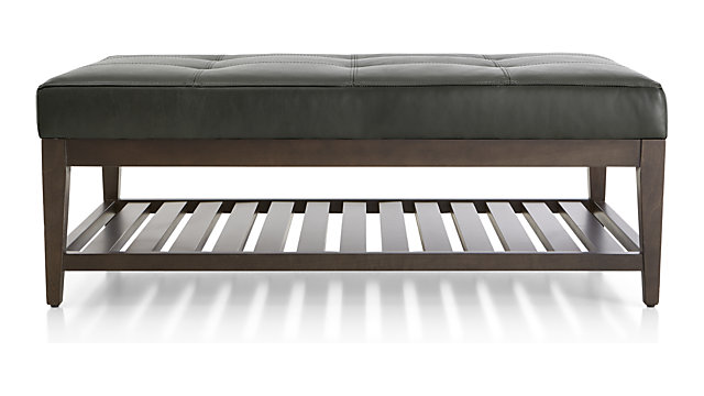 Nash Leather Tufted Rectangular Ottoman with Slats shown in Logan, Slate