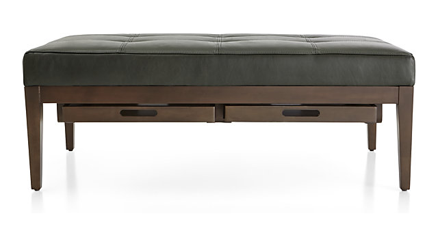 Nash Leather Tufted Rectangular Ottoman with Tray shown in Logan, Slate