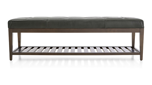 Nash Leather Large Tufted Bench with Slats shown in Logan, Slate