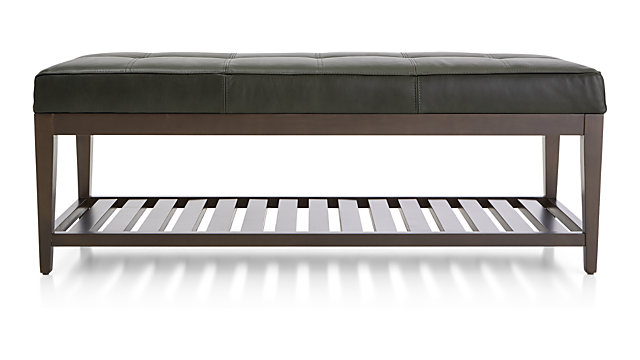 Nash Leather Small Tufted Bench with Slats shown in Logan, Slate