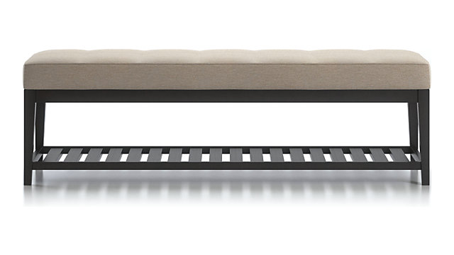 Nash Large Tufted Bench with Slats shown in Synergy, Oatmeal