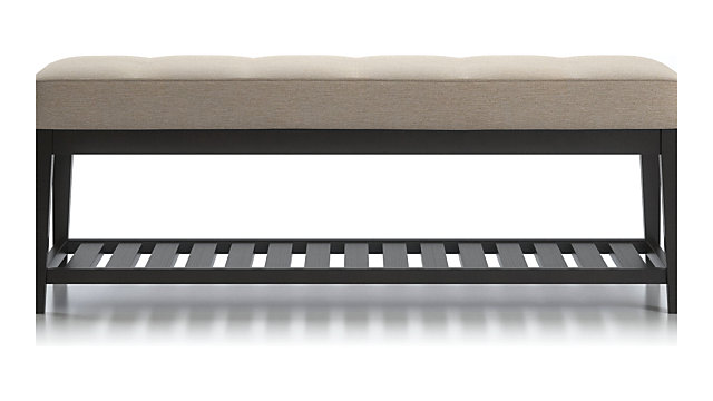 Nash Small Tufted Bench with Slats shown in Synergy, Oatmeal