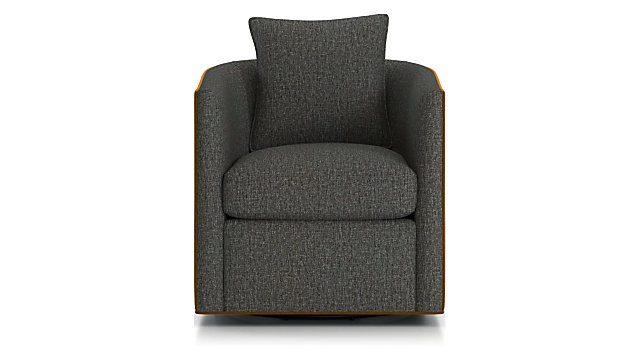 Drew Small Swivel Chair shown in Hughes Grigio(frame), View Brandy(welt)