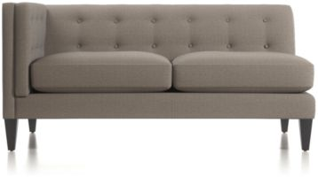 Aidan Left Arm Tufted Loveseat shown in Cole, Nickel