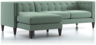 Aidan 2-Piece Left Arm Chaise Tufted Sectional Sofa (Right Arm Loveseat, Left Arm Chaise) shown in Cole, Bay