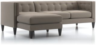 Aidan 2-Piece Left Arm Chaise Tufted Sectional Sofa (Right Arm Loveseat, Left Arm Chaise) shown in Cole, Nickel