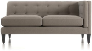 Aidan Right Arm Tufted Loveseat shown in Cole, Nickel