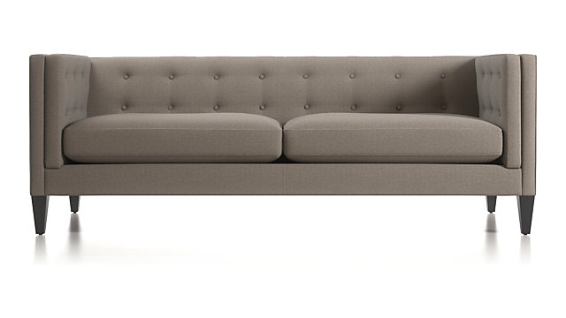 Aidan Tufted Sofa shown in Cole, Nickel