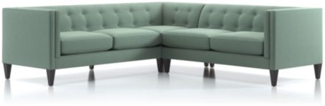 Aidan 2-Piece Left Arm Corner Tufted Sectional Sofa (Left Arm Corner Sofa, Right Arm Loveseat) shown in Cole, Bay