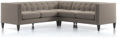Aidan 2-Piece Left Arm Corner Tufted Sectional Sofa (Left Arm Corner Sofa, Right Arm Loveseat) shown in Cole, Nickel