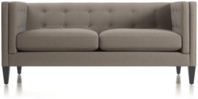 Aidan Tufted Apartment Sofa shown in Cole, Nickel