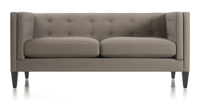 Aidan Tufted Apartment Sofa shown in Cole, Nickel