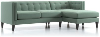 Aidan 2-Piece Right Arm Chaise Tufted Sectional Sofa (Left Arm Loveseat, Right Arm Chaise) shown in Cole, Bay