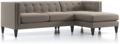 Aidan 2-Piece Right Arm Chaise Tufted Sectional Sofa (Left Arm Loveseat, Right Arm Chaise) shown in Cole, Nickel