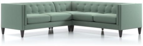 Aidan 2-Piece Right Arm Corner Tufted Sectional Sofa (Right Arm Corner Sofa, Left Arm Loveseat) shown in Cole, Bay