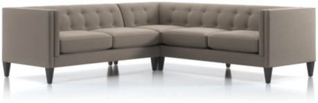 Aidan 2-Piece Right Arm Corner Tufted Sectional Sofa (Right Arm Corner Sofa, Left Arm Loveseat) shown in Cole, Nickel